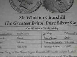 Solid silver Winston Churchill Hill half crown