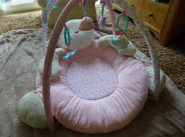 Pink Luxury Bunny Mothercare Baby Playmat & Arch in VGC