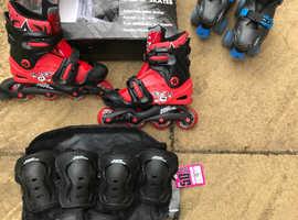 No Fear Inline Skates plus pads Size 1-3