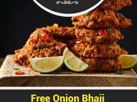 Free Onion Bhaji on Takeaway orders over £15 | Zara Indian Takeaway