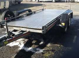 Flatbed trailer 12ft x 5ft twin axle fully galvanised with chequer plate floor