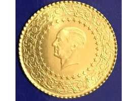 22ct Gold 25 Kurush Solid Gold Turkish Coin Bust Of Kemal Ataturk.
