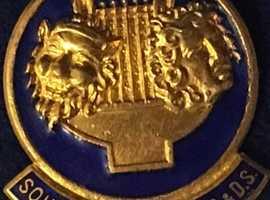 Ladies Jewellery Gold Enemal South More Pin Brooch.