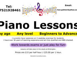 Piano Teacher - any age or ability considered.