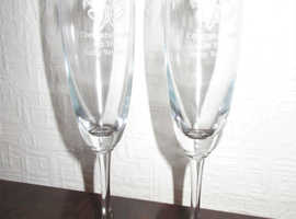 Pair of 40th Ruby Wedding Anniversary Champagne Flutes