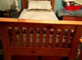 Wooden single beds with Mattresses x 2