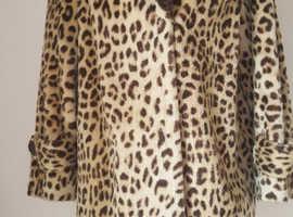 Vintage Animal Faux Fur Coat Jacket Leopard Lynx Pony Style M/L Great Clean Condition