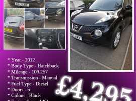 Nissan Juke, 2012 (12) Black Hatchback, Manual Diesel, 109,257 miles