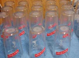Red Stripe Pint Glasses X 18