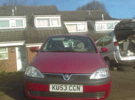 Vauxhall Corsa, 2003 (53) Red Hatchback, Manual Petrol, 80,000 miles