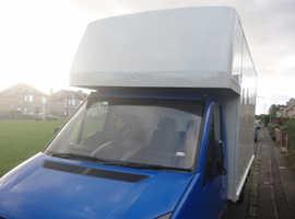 Van with 2 man 3500kg Luton van with rail lift