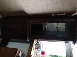 2 part mahogany cabinet