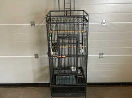 Parrot cage antique powder coated Finnish with top stand