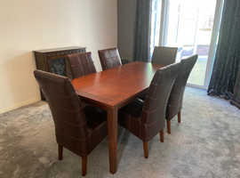 Quality Walnut Table and Six Chairs