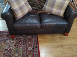 Two brown sofa's