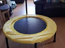 Small fitness trampoline with workout dvd