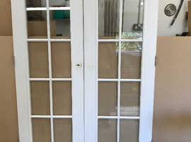 USED CLEAR GLAZED DOUBLE DOORS WITH HINGES FOR SALE