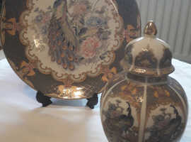 Peacock plate and urn