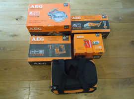 AEG 18V SDS+ drill Circular saw Impact driver Grinder sander Batteries + Charger