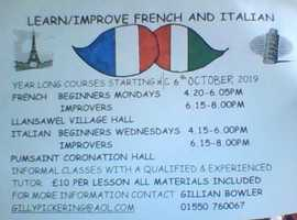 Learn French & Italian in Carmarthenshire