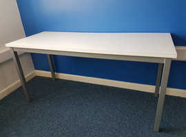 Tables x 8, excellent condition, white melamine, silver steel legs (fully welded)