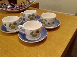 4 New WEGDWOOD Cups & Saucers + 6 Crystal Glass Cups
