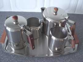 5 Piece Tea/coffee set with Stainless Steel with Wooden Handles (Brand new and boxed)