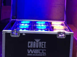 Chauvet Battery LED RGBW uplighting wireless DMX (>12 hours) + Charger Flightcase DJ LED