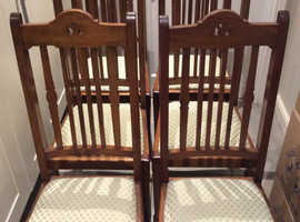 Antique Chairs x 6 - Possible Scotch Walnut? Good Cond. Have been re-upholstered