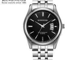 Mens Stainless Steel Silver Analogue Quartz Calendar Watch