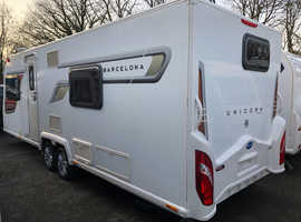 2014 BAILEY UNICORN BARCELONA  TWIN AXLE  FIXED BED TOURING CARAVAN  4 BERTH  FULLY SERVICED  IMMACULATE  MOTOR MOVER