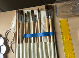 Art supplies/ Artist set (acrylic paint, brushes, pencils, compass,ruler, canvases + FREEBIES