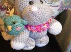 Mini hippo and bird