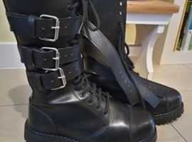 Phantom Bandit Leather Boots Size 5. Military, Goth, Emo