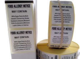 Food Allergy Labels, Food Allergy Stickers 36mm x 36mm 1000 On A Roll