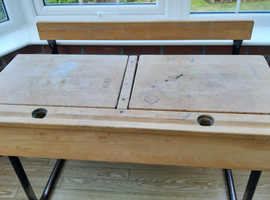 Childs twin desk, Storage & folding bench seat