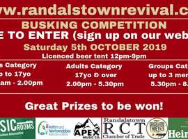 FREE to enter Busking Competition Saturday 5th October 2019