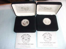 Pair of Limited Edition Mickey & Minnie Mouse SILVER Coins, Boxed & with C.O.A. - Each weighs 1 Troy ounce - CASH ON COLLECTION ONLY
