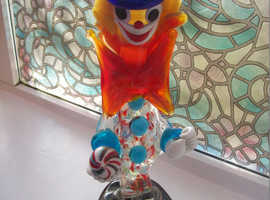 Vintage Murano Glass tall Clown Italy, 1950s