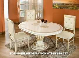 ITALIAN DINING TABLE AND CHAIRS WITH CRYSTALS ROUND/OVAL ITALIAN TABLE