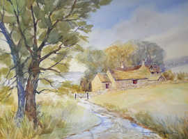 Original Watercolour by D. Horton - Farm Houses