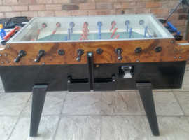 GARLANDO TABLE FOOTBALL PROFESSIONAL GLASS TOP PUB TYPE EXCELLENT CONDITION COIN OP WORKS