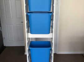 Ikea storage unit and 3 boxes