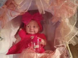 Reborn berenguer doll & moses basket
