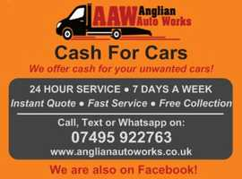 CASH FOR CARS, SCRAP CARS, JUNK CARS, VEHICLE TRANSPORT & CAR RECOVERY 24-7 : SUFFOLK, NORFOLK & CAMBRIDGESHIRE -