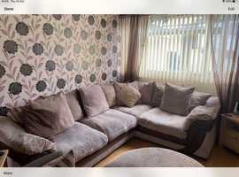 DFS Corner Sofa with Large Snuggler Chair and Half Moon Foot Stool