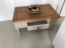 Solid oak/pale grey coffee table - quality furniture