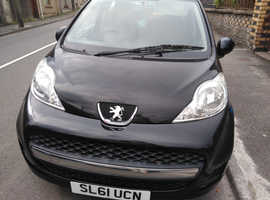Peugeot 107, 2011 (61) Black Hatchback, Manual Petrol, 62,000 miles