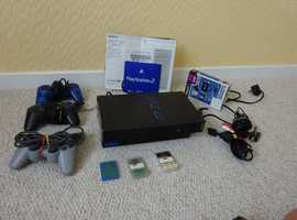Sony PS2 Game console with controllers and connectors