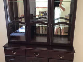 Mahogany unit with glass cabinet